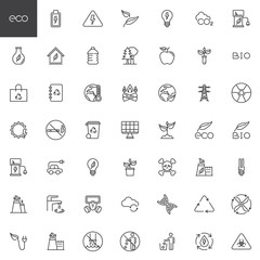 Fototapeta Ecology line icons set. linear style symbols collection, outline signs pack. vector graphics. Set includes icons as eco waste, environmental pollution, water recycle, global warming, solar energy