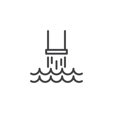 Water pollution pipe line icon. linear style sign for mobile concept and web design. Industrial waste from pipe into sea outline vector icon. Environmental pollution symbol, logo illustration.