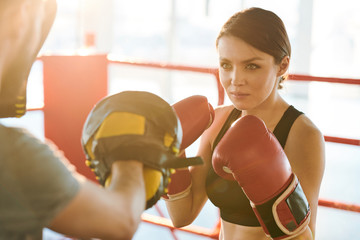 Training on boxing ring