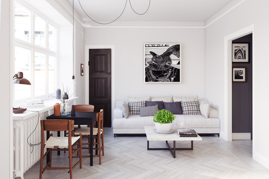 scandinavian style living room design.