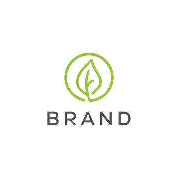 simple leaf line logo design