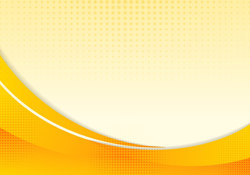 Abstract yellow waves or curved professional business design layout template or corporate banner web design background with halftone effect. Curve flow orange motion illustration.