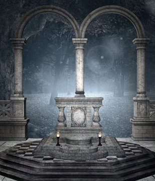 Ancient altar in the blue forest – 3D illustration