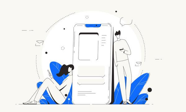 Man woman social networks vector communicate phone