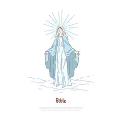 Virgin Mary, holy woman praying, saint in heaven, Jesus Christ Mother, biblical story character banner template