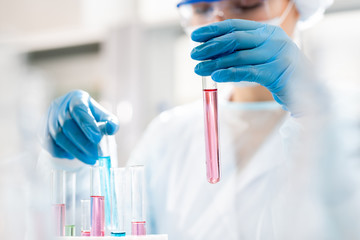 Close-up of busy woman in rubber gloves putting test tubes with colorful liquids into rack while working with chemical substances in laboratory