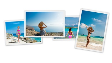 Collage of photos of memories from traveling to Greece. Wall mural