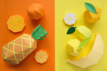 Fruit made of paper. Bright background. There's room for writing.