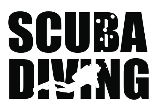 Concept design logo of scuba diving typography drawing