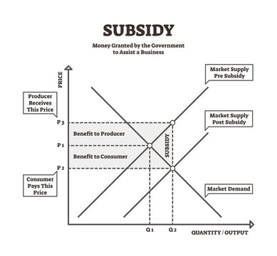 Subsidy vector illustration. BW explanation government financial aid graph.