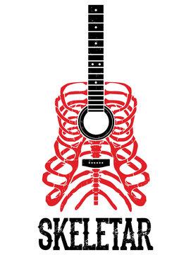 music poster Skeleton incorporated guitar illustration.Suitable for t-shirt print, street wear vector illustration