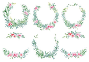 Tropical watercolor flowers and leaves. Exotic wreath isolated on white background.