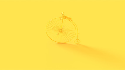Yellow Penny Farthing Bicycle 3d illustration 3d render