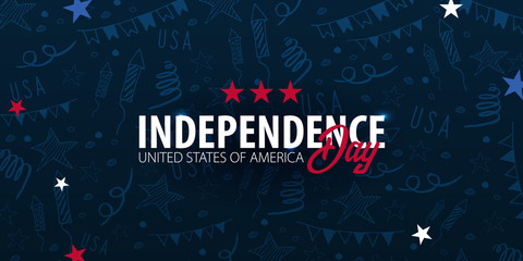 4th of July. USA independence day celebration banner. Hand draw doodle background. Vector illustration.