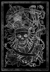 White silhouette of Jolly Roger skull, pirate skeleton and gallows noose on black.