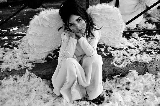 femme, beauté, beau, ange, mode, jeune, épouse, portrait, blanc, robe, hiver, joli, ailes, modèle, mariage, noël, aimer, cheveux, dame, neige, personne, dormant, content, gens, enfant