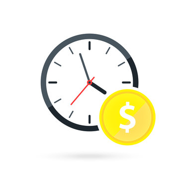 Clock and coins vector illustration. Time is money. Money saving. long term financial investment, money profit benefit and annual revenue.