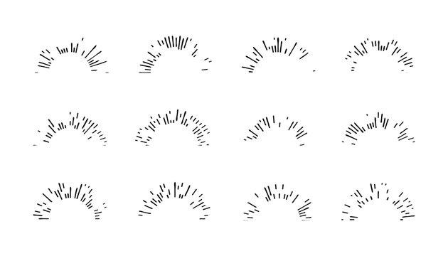 Collection black Sunbursts. Vector illustration
