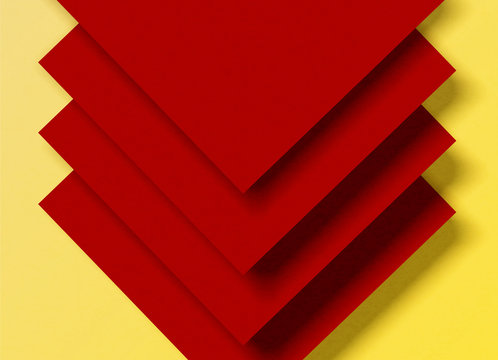 Vector illustration of abstract red geometric shapes on a yellow background