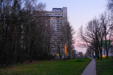Moscow, Russia - April, 21, 2019: Residential district in Moscow