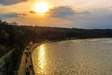 Moscow, Russia - April, 21, 2019: embankment of Moscow river in the evening
