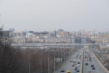 Moscow, Russia - April, 21, 2019: traffic on a bridge on Vorobiyovi Gori in Moscow