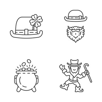Saint Patrick's Day glyph icons set linear icons set
