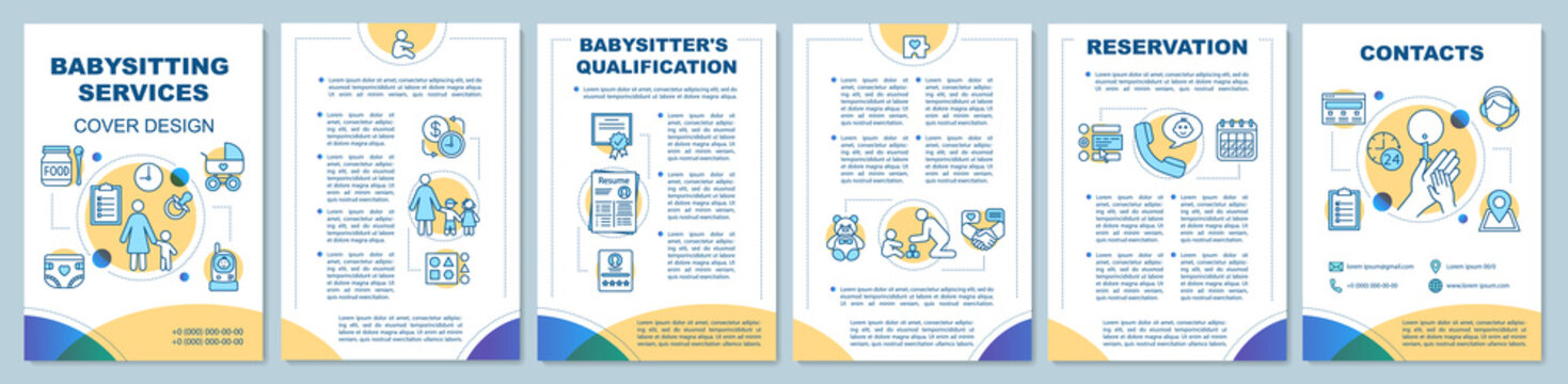Babysitting support brochure template layout