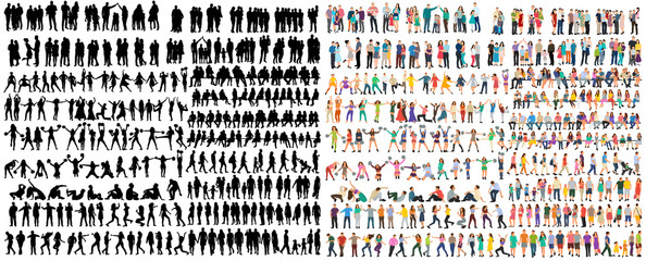 vector isolated people silhouettes set