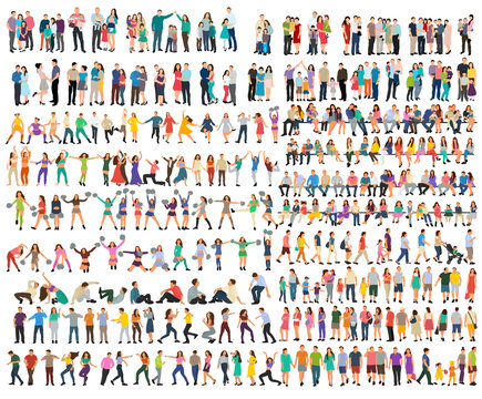 vector, isolated, set of people silhouettes, flat style