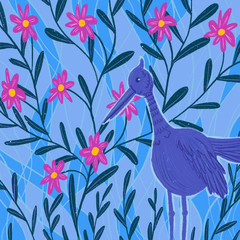Blue exotic bird near flowering bush. Background. Illustration.