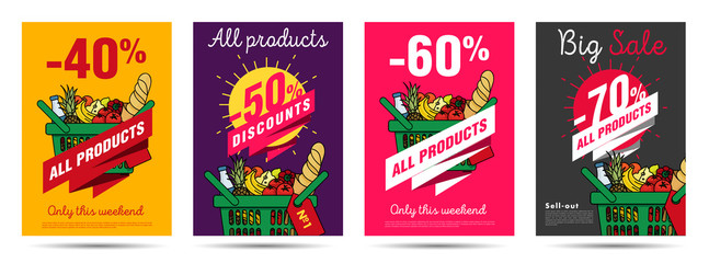 Set of posters for grocery food store with shopping basket illustration