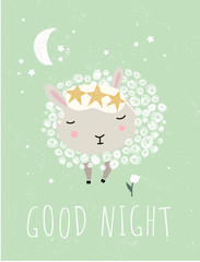 "Cute wall interior poster, card or picture for the children's room. Vector drawn illustration of an animal lamb or ram with the inscription ""Good night"". Drawing in the nursery."
