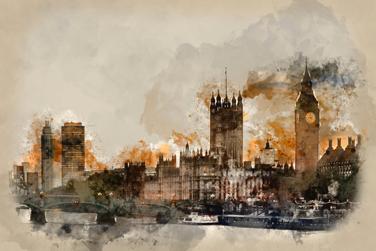 Watercolor painting of Sunset skyline of Big Ben abd Houses of Parliament in London.