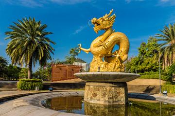 The Hai Leng Ong Statue (Golden Dragon Monument) in Phuket Old Town, Phuket, Thailand, Southeast Asia, Asia