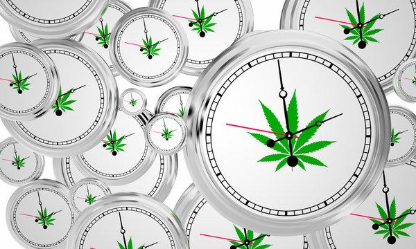 Marijuana Cannabis Pot Weed Clocks Time 3d Illustration