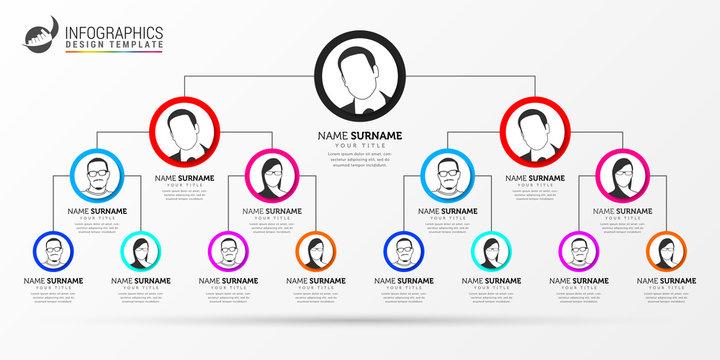 Infographic design template. Creative organization chart. Vector