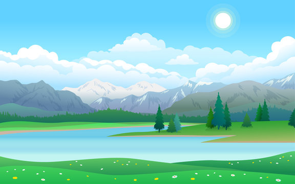 Beautiful landscape with lake, forest and mountains