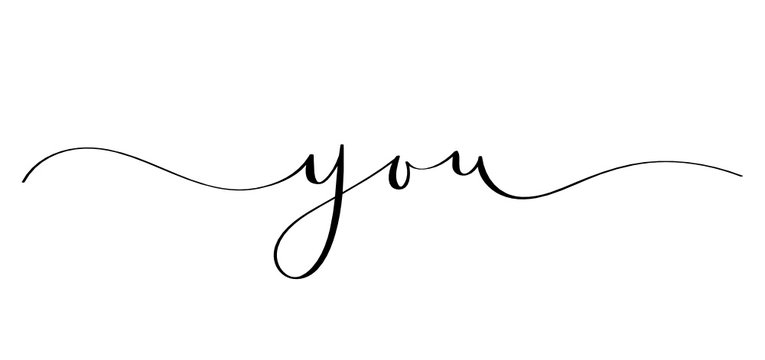 YOU black brush calligraphy banner with swashes