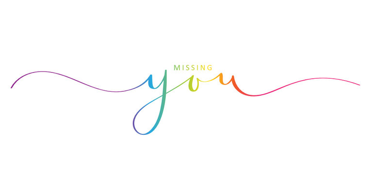 MISSING YOU rainbow brush calligraphy banner
