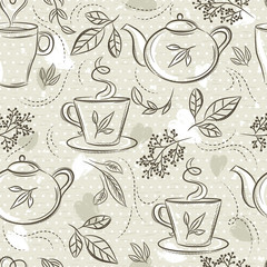 Beige seamless patterns with tea set, cup, tea pod, leafs, flower and text.Background with tea set. Ideal for printing onto fabric and paper or scrap booking.