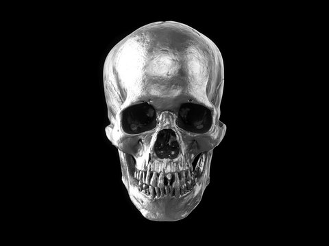3D rendering silver skull isolated