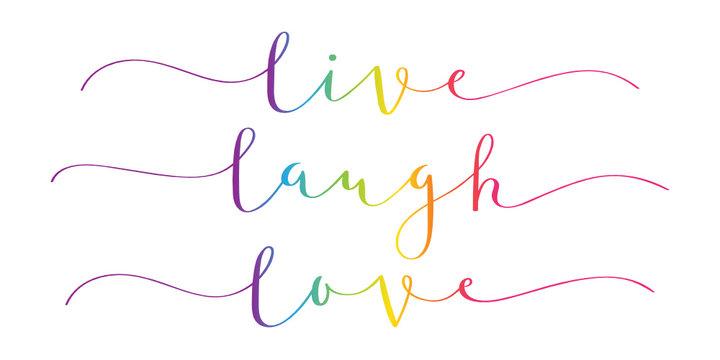 LIVE LAUGH LOVE rainbow brush calligraphy banner