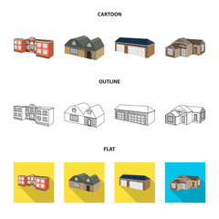 Isolated object of facade and housing logo. Collection of facade and infrastructure vector icon for stock.