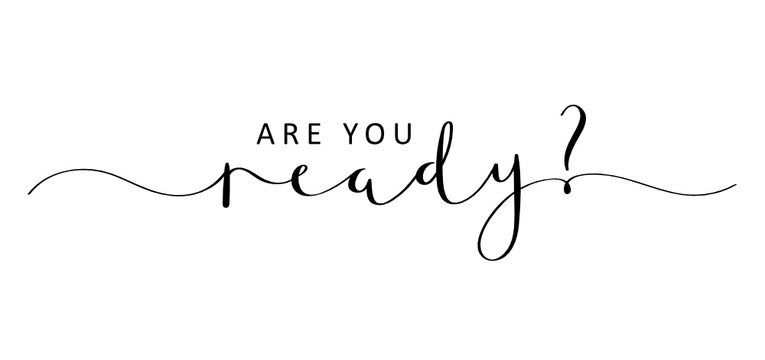 ARE YOU READY? brush calligraphy banner