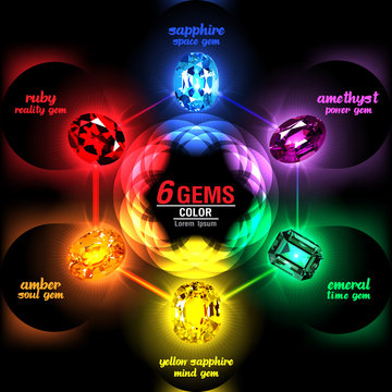 6 Gems on Abstract Color background. Vector illustration