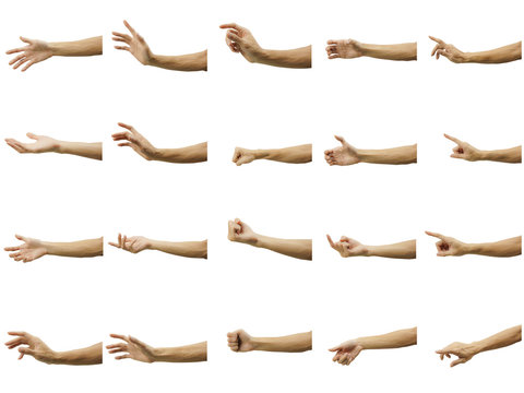 Multiple of man's hand gesture isolated on white background. Carefully cut out by pen tool and insert a clipping path.