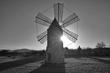 blackandwhite picture from traditional windmill in mallorca