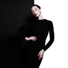 Fotobehang womenART Elegant blode in geometric black and white background
