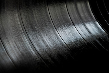 Surface of an old vinyl record. Macro shot, shallow depth of field. SDF. Wall mural